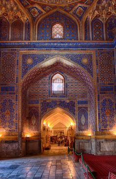 Samarkand >>> A major centre on the ancient Silk Road, conqueror Tamerlane's capital city, and second largest city in modern Uzbekistan. Not somewhere I want to visit in person, but I can surely appreciate a dazzling interior like this one.