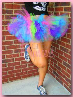 Kandi Costume (#3) ... Katy - Neon Rave Purple, Lime, Pink & Aqua 80's Style Tutu - Birthday Tutu - Available in Infant, Toddler, Girls, Teenager and Adult Sizes. $18.99, via Etsy.