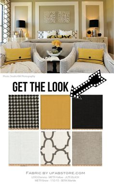We love to pull inspiration from beautiful photos found in magazines or in this case Houzz. When mimicking a photo, the fabrics and furniture can be a close replica while still maintaining the standard rules of scale, texture and color. This photo features shades of crisp yellow gold, grey, black and white – and looks nothing more than contemporary luxury. Here's how you can get the look.