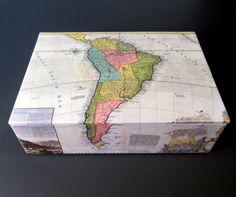Decorative Handmade Mens Watch Box Vintage Map By TheBOXshop - Antique map box
