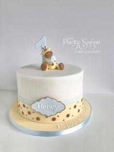 Cute giraffe first birthday cake