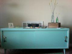 Credenza.  From dark green to aqua.  My Saturday DIY color splash project.