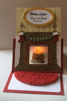 I've used a battery operated tea light to look like a real fire. Some fuzzy foam for mad from craft shop. Stampin Up Christmas, Christmas Cards To Make, Xmas Cards, Holiday Cards, Christmas 2017, Pop Up Cards, Cool Cards, Pop Up Karten, Tarjetas Pop Up