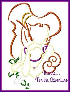 Megara from Hercules Sketch Embroidery Machine Design File 4x4 5x7 6x10 by Thanks4TheAdventure on Etsy