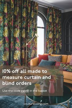 Hand stitched Made to Measure Curtains, Roman Blinds and Voile by Couture Living. We have hundreds of fabrics to choose from along with designer brands Floral Curtains, Custom Curtains, Floral Fabric, Blinds Online, Pre Christmas, Penthouse Apartment, Made To Measure Curtains, Five Star Hotel, Christmas Delivery