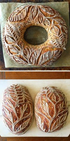 Twisting Vines and Leafy Botanics Carved into Crusty Breads by Blondie + Rye Sourdough Recipes, Sourdough Bread, Bread Recipes, Baking Recipes, Yeast Bread, Chef Recipes, Bread Art, Bread Baking, Bread Food