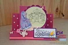 Stair step card<3 pink<3 flower<3 butterfly<3 texture paper<3 Muslim girl<3 prayers<3 Eid mubarak<3 mosque<3 polka dots<3 scraper<3 handmade