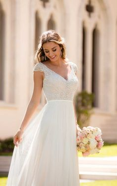 Romantic wedding dress idea - lace bodice with chiffon, layered skirt. Style 6628 from Stella York. See more wedding dress inspo on WeddingWire! dresses chiffon layers Wedding Dress out of Stella York - 6628 Sophisticated Wedding Dresses, Sophisticated Bride, Elegant Wedding Dress, Elegant Dresses, Vintage Dresses, Dress Wedding, Timeless Wedding, Relaxed Wedding Dress, Elegant Gown