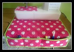 Sewing machine pockets... I need this!  http://getyourcrafton.blogspot.com/2009/08/tutorial-sewing-machine-quilt.html