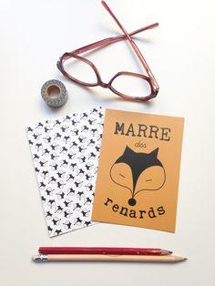 2 cartes postales thème renard