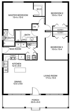 Make the whole house about 3 feet longer so there's room for a REAL mud room rather than that sorry hallway labeled as one.
