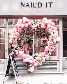Dreamy signs of Valentines popping up all around London Balloon Garland, Balloon Decorations, Flower Decorations, Balloon Arrangements, Valentines Balloons, Valentines Day, Salon Window Display, Greeting Card Companies, Deco Floral