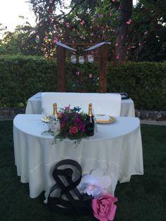 Sweetheart table for Kelly Nishimoto's wedding at the  #kellogghouse #tlc #somethingborrowedsomethingnew #kellynishimoto #wedding #outdoorvenue #venue #outdoorreception #reception #love #marriage #garden