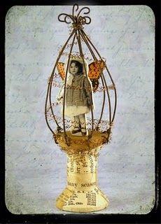 Very cute twist on a captured fairy. Love the decoupaged thread spool base :)