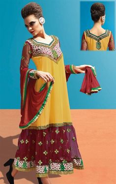 Picture of Gorgeous Yellow and Maroon Designer Churidar Kameez