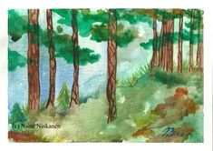 Lake and Pines Original Watercolor Forest Trees Lake Water Landscape Watercolor Landscape Art by Niina Niskanen Watercolor Landscape, Landscape Art, Watercolor Paper, Watercolor Paintings, Watercolors, Original Artwork, Original Paintings, Brown Art, Wall Art
