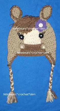 CROCHETED BRAIDED HORSE HAT WITH FLOWER https://www.facebook.com/littlebearscrochetden/photos/a.302104733148166.77776.129247753767199/853643954660905/?type=1&theater