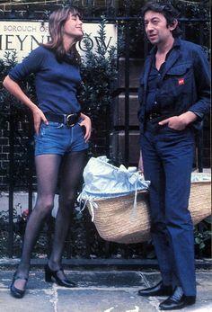 Jane Birkin, Serge Gainsbourg and baby Charlotte in a basket.
