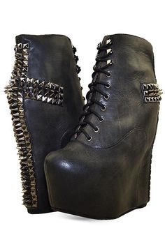Jeffery Campbell Leather Lita Spiked Wedge Boots #high #heel Lace-up #studded #cross