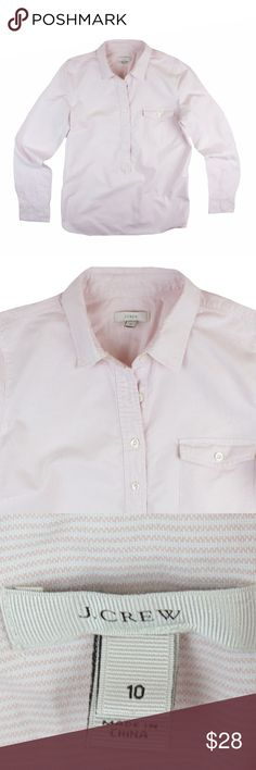 """JCREW Pink Oxford Mini Stripe Popover Shirt Great condition! This light pink mini stripe Oxford popover shirt from JCREW features a pocket at the bust and popover style. Made of 100% cotton. Measures: bust: 40"""", total length: 27"""", sleeves: 25"""" J. Crew Tops Button Down Shirts"""