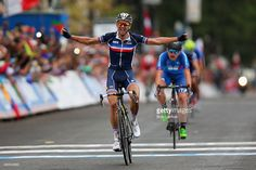 Kevin Ledanois of France celebrates winning the Men's U23 Road Race on day six of UCI Road World Championships on September 25, 2015 in Richmond, Virginia.