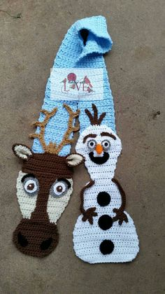 Crochet Snowman and Reindeer Scarf inspired by by HatchedWithLove