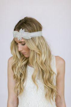Wedding Head Piece Headband Crystal Rhinestone Head Band Bohemain Bridal Headpiece Veil Comb (Slip On) via Etsy