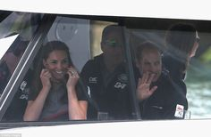 The royal pair looked happy and excited as they entered the boat so they could watch the r...