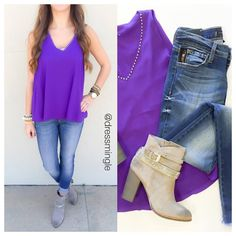 SEE IT ON | Think sophisticated and pair this studded purple blouse with a blazer + slacks at the office & then nail it on #gameday with denim & booties! #dressmingle #ootd #lotd #outfit #skinnyjeans #greybooties #thinksophisticated @chineselaundry
