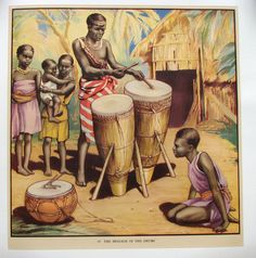 "1930's British African Drums Original Antique Children's Poster AGE: c. 1930's, lithograph. CONDITION: A, Linen Mounted, beautiful! At the bottom is printed the number 67 ""The Message of the Drums."" T"