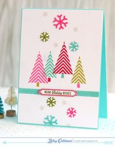 Warm Holiday Wishes Card by Betsy Veldman for Papertrey Ink (October 2014)
