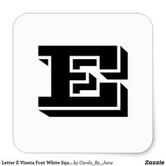 Letter E Vineta Font White Square Stickers by Janz