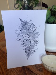 Hand drawn Zentangle Feather. Black Artline pen on white Sketch paper. on Etsy, $22.30
