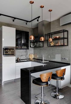 48 + Stunning Apartment Kitchen Decorating - Home By X The kitchen is an integral a part of any home. For most individuals, the kitchen is crucial part of the home. That is fairly comprehensible conserving in thoughts the utilitarian operate of the kitche Kitchen Room Design, Modern Kitchen Design, Home Decor Kitchen, Interior Design Kitchen, Home Kitchens, Kitchen Ideas, Decorating Kitchen, Kitchen Designs, Stylish Kitchen