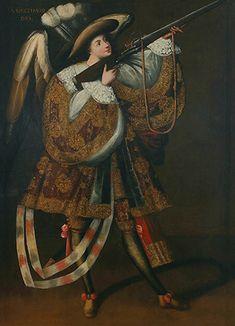 Master of Calamarca, Archangel with Gun, Asiel Timor Dei, before 1728, oil on canvas and gilding, 160 x 110 cm (Museo Nacional de Arte, La Paz, Bolivia)
