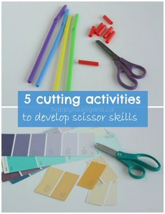 5 scissor exercises for kids, to develop cutting skills, ranging from beginner to advanced. (happyhooligans.ca)