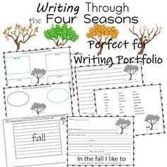 Writing Through the Seasons Writing Resources, Writing Prompts, First Grade, Second Grade, Improve Writing Skills, Portfolio Samples, Weather Seasons, Kindergarten Writing, Teaching Activities