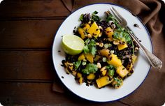 Black Rice Salad with Mango and Peanuts #vegetarian