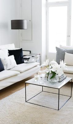 white minimalist living room design