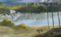 ©On the Lake painted by Iris Sun, watercolor  www.irisunart.com
