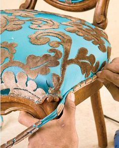 Furniture reupholstery Antique chair reupholster Furniture upholstery Reupholstery Reupholster furniture Diy furniture - Reupholstering a Chair - Furniture Reupholstery, Upholstered Furniture, Furniture Makeover, Painted Furniture, Reupholster Dining Chair, Funky Furniture, How To Reupholster Furniture, Furniture Outlet, Dining Chairs