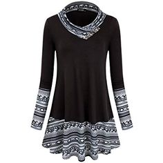 online shopping for Miusey Women's Long Sleeve Cowl Neck Form Fitting Casual Tunic Top Blouse from top store. See new offer for Miusey Women's Long Sleeve Cowl Neck Form Fitting Casual Tunic Top Blouse Tunic Shirt, Shirt Blouses, Tunic Tops, Tunic Sweater, Flowy Tops, How To Wear Scarves, Blouse Online, Pulls, Casual Tops