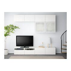 BESTÅ TV tár komb/üvajt - fehér/Selsviken magasfényű fehér/tejüveg, fióknyitó, nyomásra műk. - IKEA