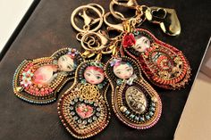 Detachable handbag charm for ladies, Keychains purses Mothers day gift idea, Artisan statement jewelry. Frida Kahlo Artwork, Matryoshka Doll, Statement Jewelry, Mother Day Gifts, Dangle Earrings, Unique Gifts, Jewelry Accessories, Artisan, Mamma