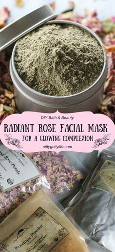 Radiance & beauty with three ingredients - French green clay, rose hips & rose petals. This facial mask is a perfect DIY solution for a glowing complexion. #naturalskincare #diyskincare #facialmask via @nittygrittylife