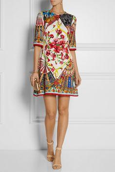 Dolce & Gabbana|Printed matelassé mini dress|NET-A-PORTER.COM