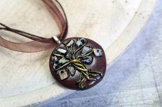 Tree-of-life Dalmatian Jasperpendant gemstone necklace by Velwoo