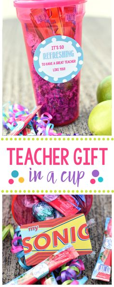 Cute Teacher Appreciation Gift Idea-Fill a cup full of fun for the teacher and add this cute tag that says It's So REFRESHING to have a Great Teacher Like You #teacherappreciation #teachergifts #teachergiftidea