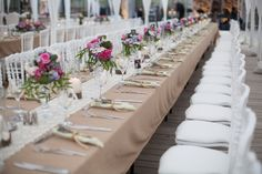 long festival table with linen table cloth and ivory lace runner, wedding inspiration thefashionmedley.com