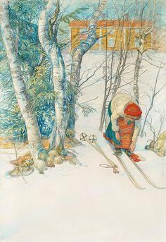 """""""Girl buckling her skis (Skidlöperska / Flicka spänner på sig skidorna)"""", 1911, by Carl Larsson (Swedish, 1853-1919)"""